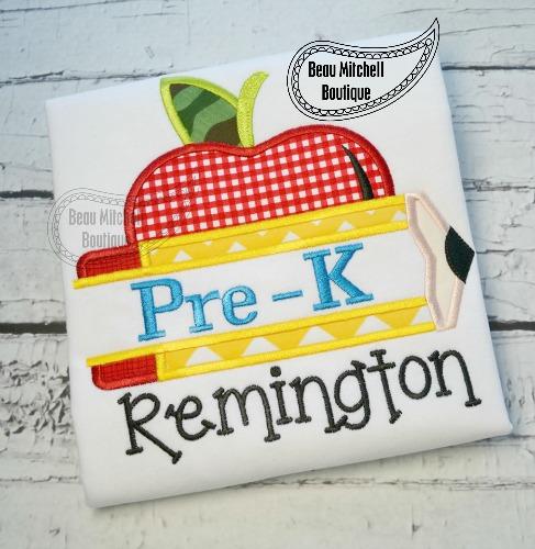Pre-K pencil apple applique