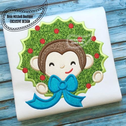 Sock Monkey Wreath applique