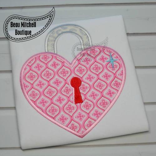 Heart lock applique