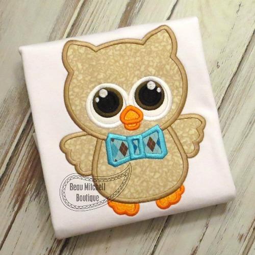 Owl boy tie applique