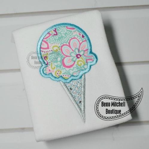 Ice Cream sugar cone applique