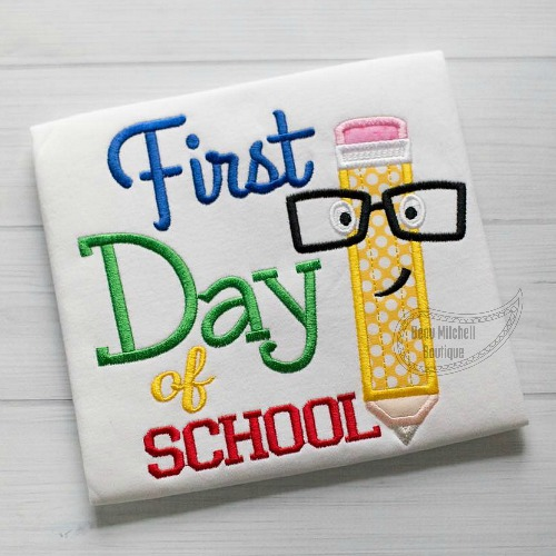 First day of school pencil applique