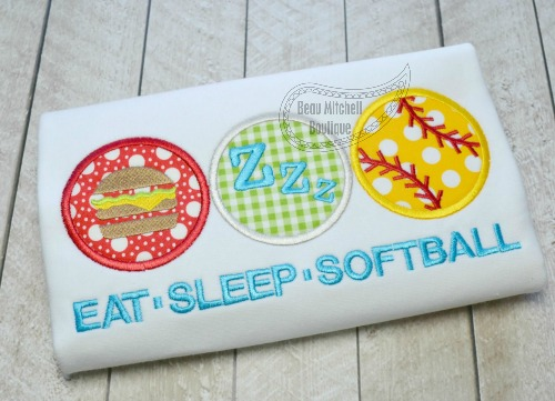 Eat, sleep, softball applique