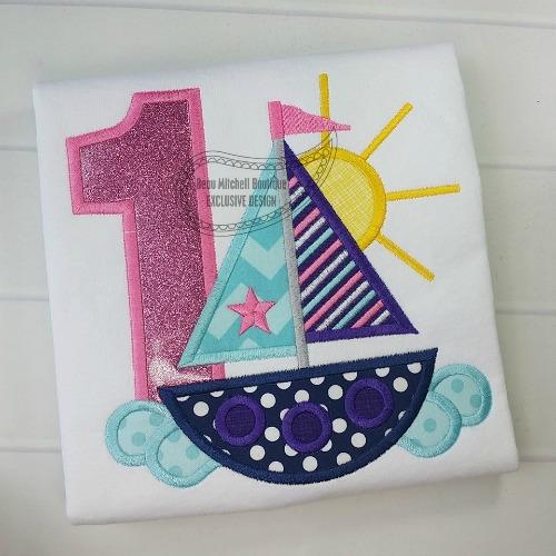 1 Sailboat Birthday applique