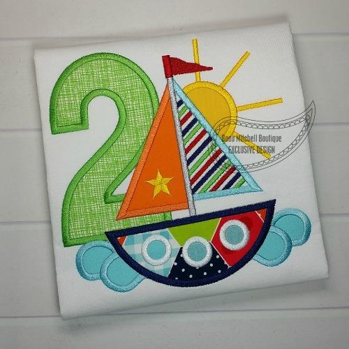 2 Sailboat Birthday applique