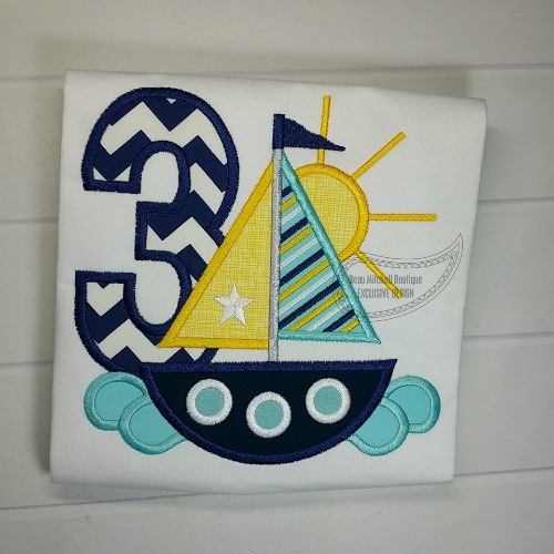 3 Sailboat Birthday applique