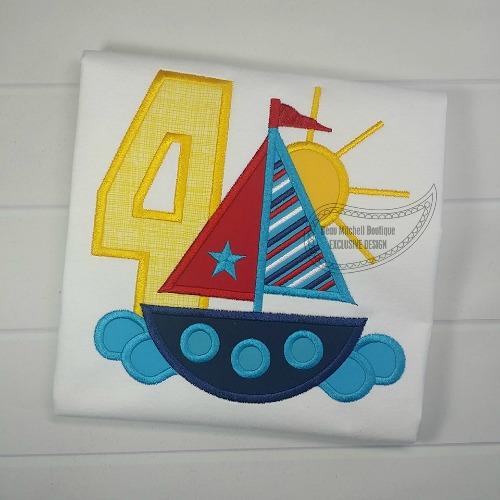 4 Sailboat Birthday applique