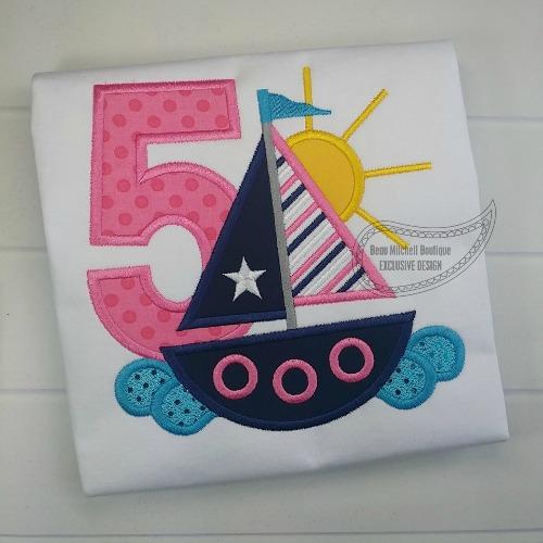 5 Sailboat Birthday applique