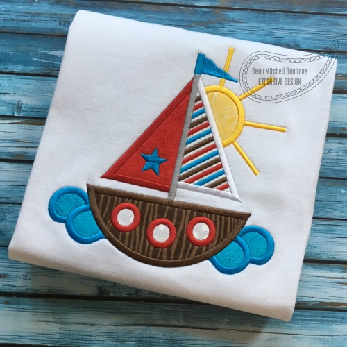 Sailboat sun applique