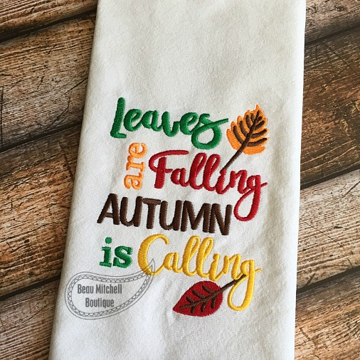 Leaves falling embroidery design