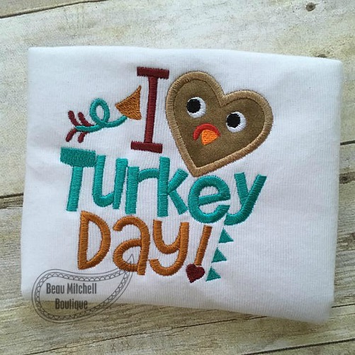 I heart Turkey day applique