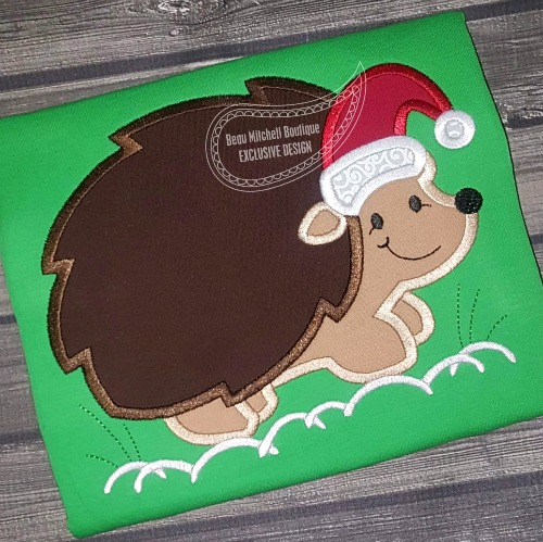 Christmas hedgehog applique