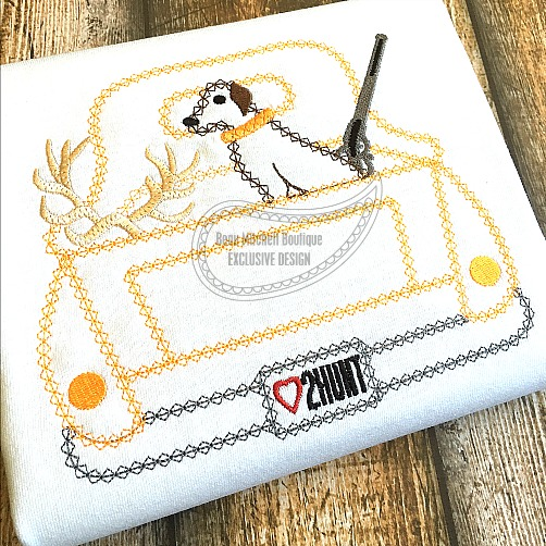 Hunting truck bean stitch embroidery design