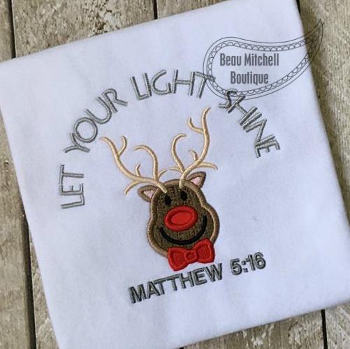 Let your light shine reindeer applique