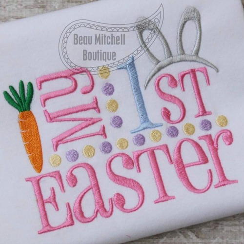 My 1st Easter Bunny Ears embroidery design