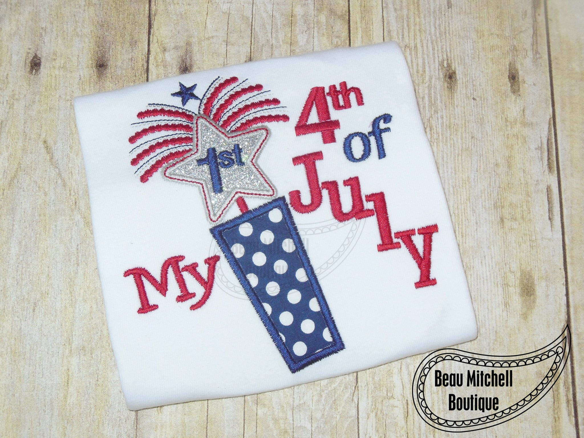 1st 4th of july fireworks applique embroidery design