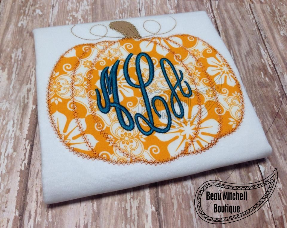 Pumpkin – both satin & vintage stitch included