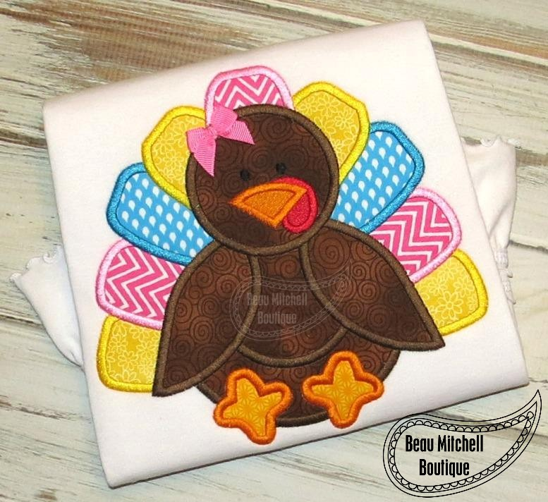 Embroidery Design Turkey Monogram Applique With Bow
