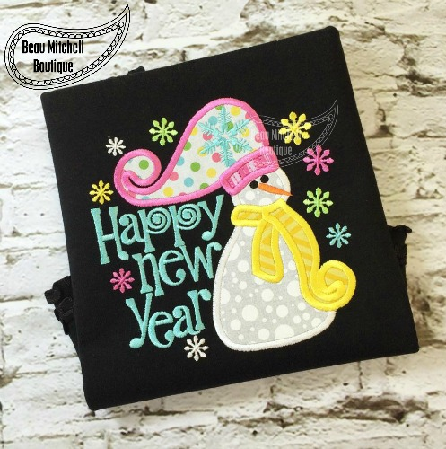 Happy New Year Snowman applique