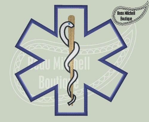 Star of life embroidery & applique design
