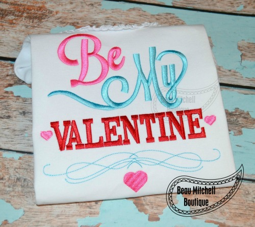 Be My Valentine Embroidery Design Beau Mitchell Boutique