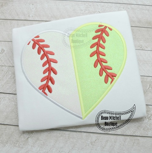 Split baseball heart applique