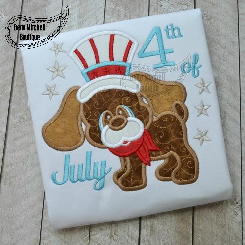 4th July Dog applique