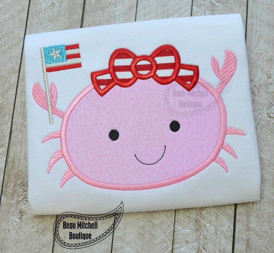 4th of July Crab applique