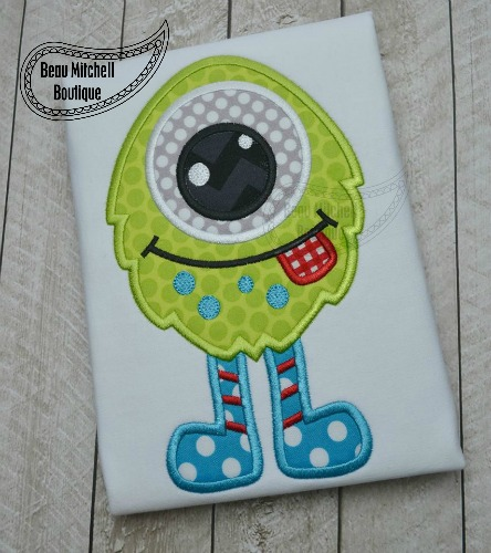 One eye boy monster applique