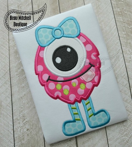 One eye girl monster applique