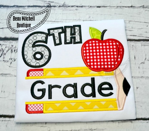 6th grade pencil apple applique