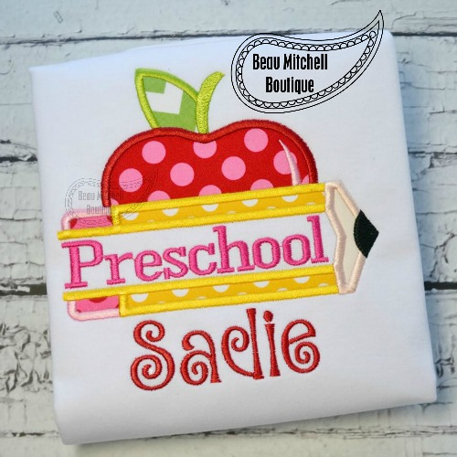 Preschool pencil apple applique