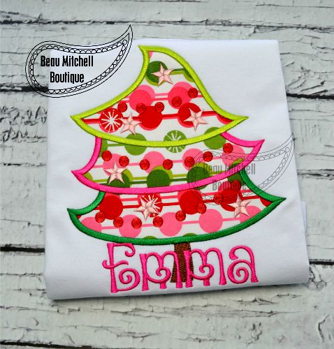 whimsical christmas tree applique a bmb exclusive design