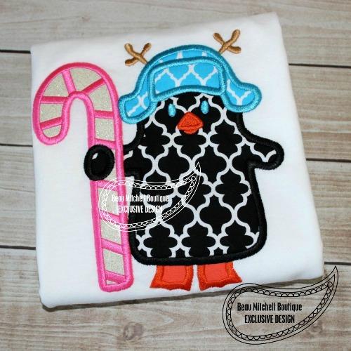 Candy cane penguin applique