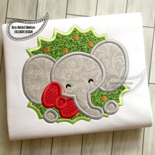 Elephant wreath applique