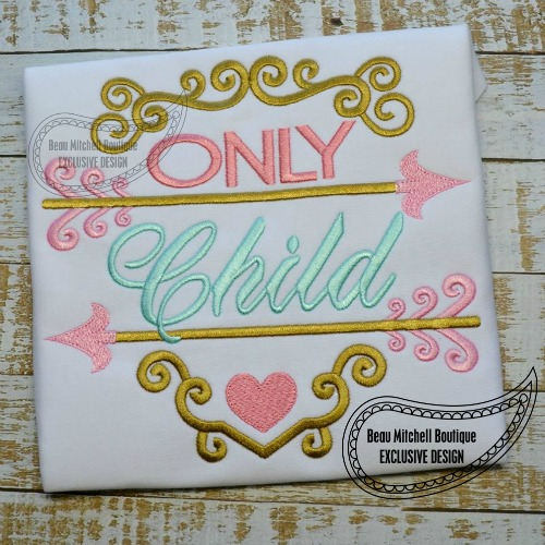 Only Child Arrow Girl Embroidery Design