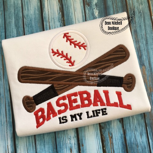 Baseball is my life applique