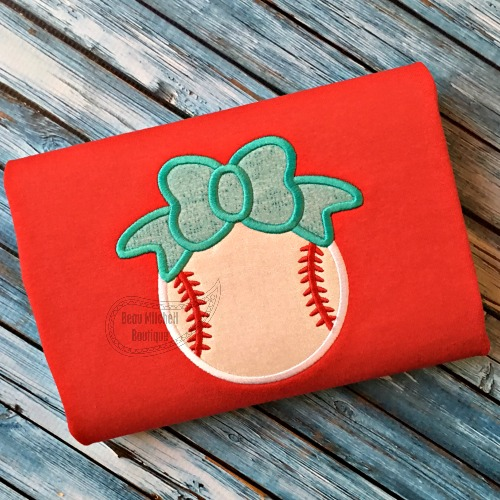 Baseball/Softball bow applique