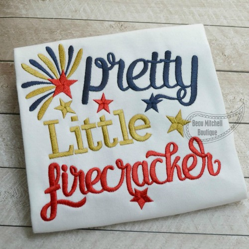 Pretty little firecracker embroidery design