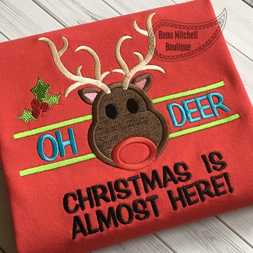 Oh deer Christmas is almost here applique