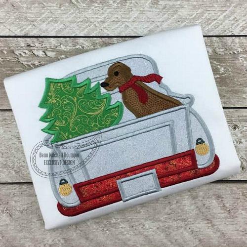 Christmas dog truck