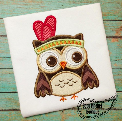 Indian Owl Applique Embroidery Design
