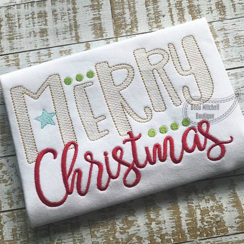 Merry Christmas horizontal sketch embroidery design