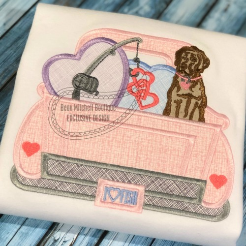 Love fishing truck applique