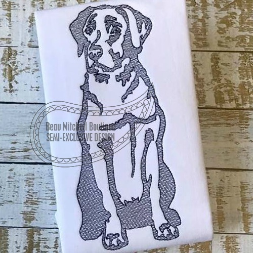 Labrador body sketch embroidery design